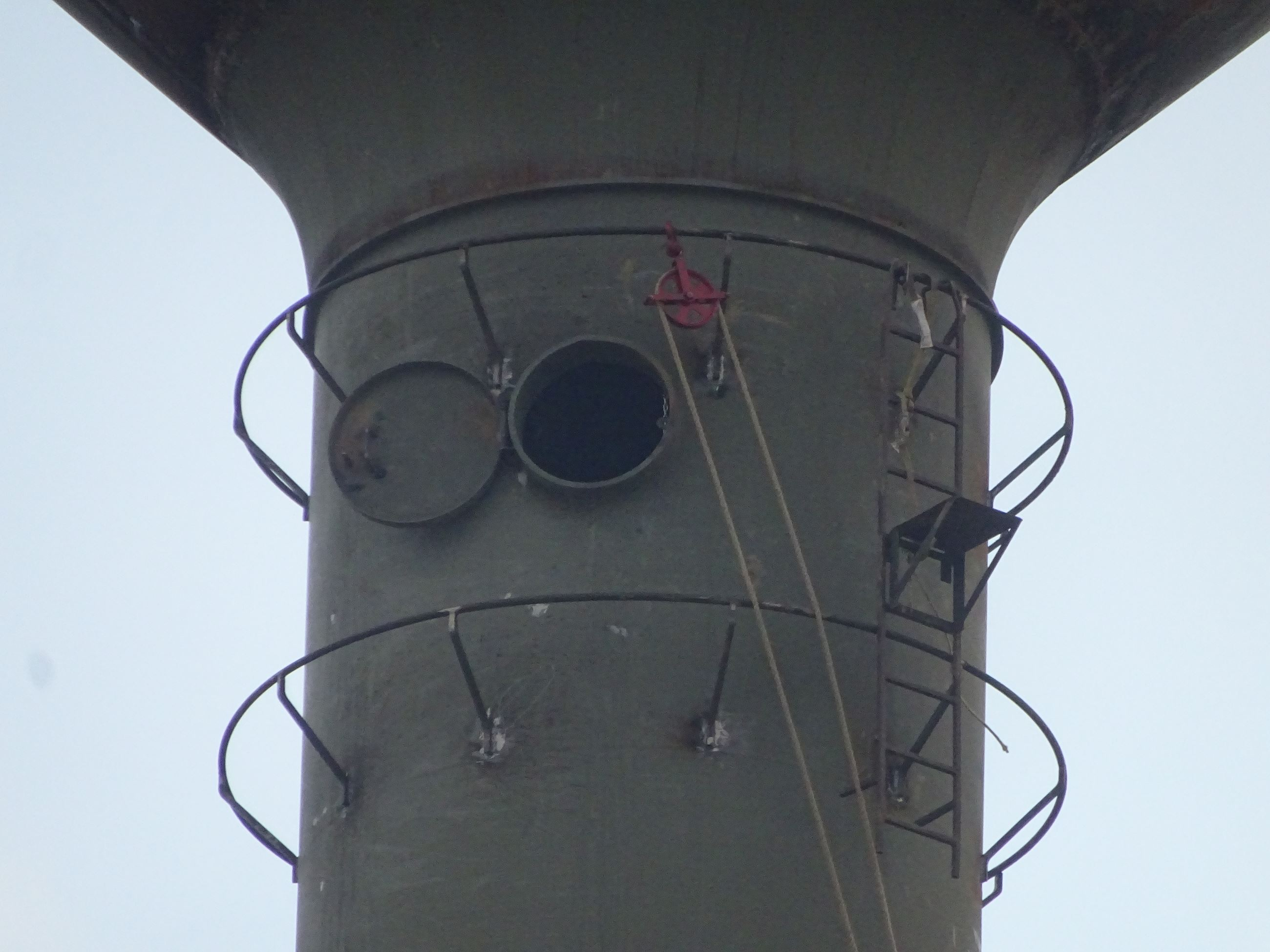 Close up of pulley on water tower